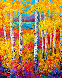aspen tree painting autumn patchwork by marion rose