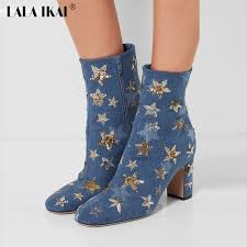 buy boots aliexpress com buy lala ikai embroider bling denim ankle