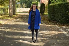 cobalt blue boyfriend coat and dress outfit jacquardflower