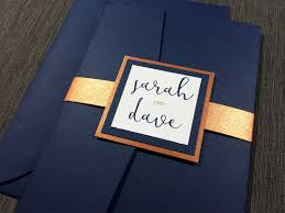 navy and copper wedding invitations calligraphy navy wedding
