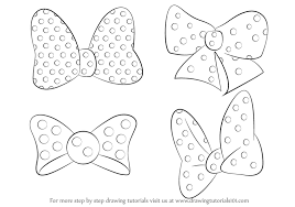 learn draw minnie mouse bow tie minnie mouse step step