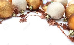 christmas border with gold and brown ornaments isolated on white