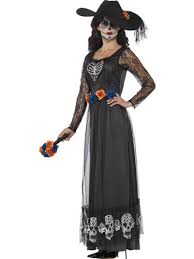 Womens Skeleton Halloween Costume Dark Dead Bride Ladies Halloween Fancy Dress Skeleton
