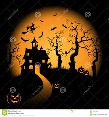 free halloween orange background pumpkin halloween night orange background with witch and pumpkins castle