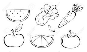 set of fruits clipart black and white clipartsgram com