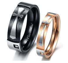 couple rings titanium images Fashion black ti titanium steel 18k rose gold cross tungsten clear jpg