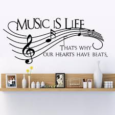 compare prices on wall decor stickers quotes online shopping buy new wall decor music is life family wall decal quotes note decals vinyl stickers living room