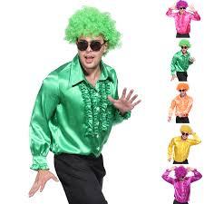 70s Halloween Costumes Men Mens 1970s 70s Suit Disco Costume Metallic Ruffle Shirt Dance