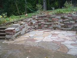 Patio Stone Flooring Ideas by Patio Designs Among Retaining Walls Matched With Stone Flooring