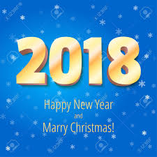 congratulation poster happy new year 2018 and christmas volumetric numbers from
