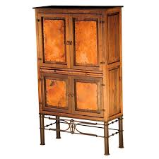 Rustic Bar Cabinet Rustic Copper Bar Cabinet With Iron Base