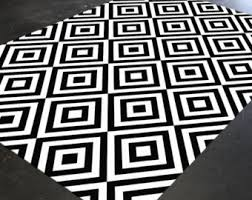 Modern Abstract Rugs Black And White Rug Etsy