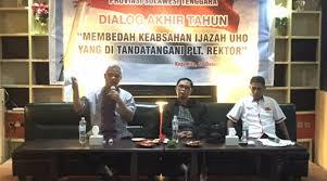 lsm bedah keabsahan ijazah uho ditandatangani plt rektor