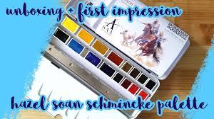 unboxing first impression hazel soan x schmincke palette youtube