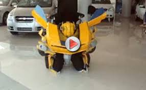 Coolest Transforming Bumblebee Transformer Costume Transformer Video Man Bumblebee Costume Transforms Camaro
