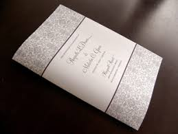 folded wedding program damask booklet multi page wedding programs in pink gray