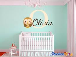 owl bedroom decor baby owl name monogram boys and girls nursery room vinyl wall decals