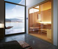 Glass Front House The Sauna Glass Front Wood Bench Cloth Holder Colored Door Glass