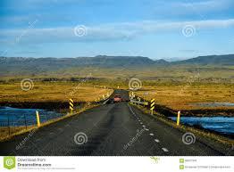 beautiful road and mountain landscape iceland stock photo image