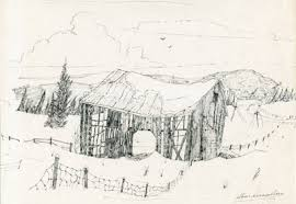 sketch of snow covered abandoned barn almaguin highlands digital