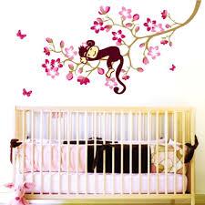 Monkey Decor For Nursery Blossom Sleeping Monkey Animal Tree Branch Removable
