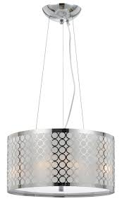 Fabric Drum Pendant Lights Chrome White Metallic Fabric Modern Drum Pendant Light Fixture