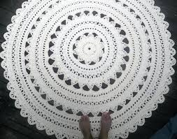 hand crafted soft ecru off white cotton crochet rug in large 41