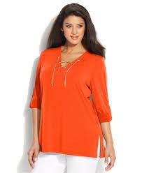 plus size blouse lyst michael kors michael plus size sleeve lace up blouse