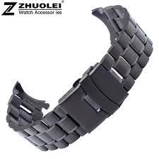 stainless steel bracelet strap images Black 18mm 20mm 22mm 24mm black stainless steel bracelet strap jpg