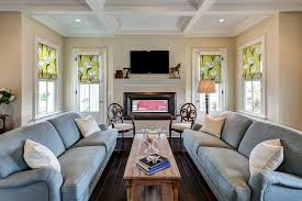 Living Room Ceiling Ls Sided Fireplace Living Room Traditional With Coffer Ceiling