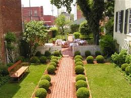 garden stunning small design with brick path center on green