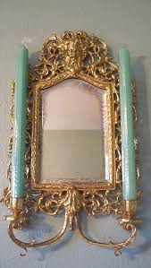 Sconce Mirror Antique Victorian French Chinoiserie Brass Wall Sconce Mirror With
