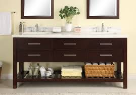 72 inch sink modern cherry bathroom vanity with open shelf
