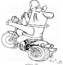 vector of a cartoon biker riding a blue hog and looking back