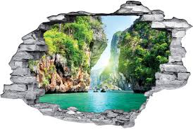 stickers trompe oeil mural stickers trompe l u0027oeil 3d paradisiaque des prix 50 moins cher