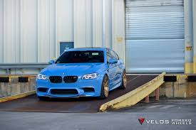 light green bmw bmw f10 m5 sedan velos design wheels light blue moster