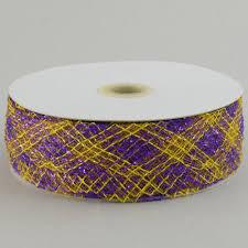 1 5 deco flex mesh ribbon purple gold plaid 30 yards rs4024m7
