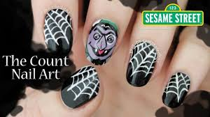 halloween nail art the count from sesame street youtube