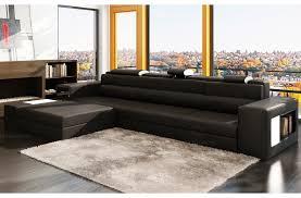 canapé 5 place canapé d angle en cuir italien 4 5 places enjoy noir et blanc