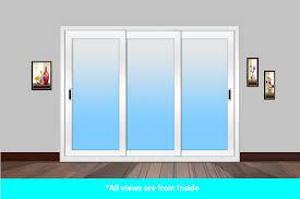 track panels for sliding glass doors sliding door white 3 track 3 glass panel without mesh doors