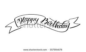 hand lettering happy birthday sketch ribbon stock vector 557994676