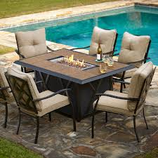 Patio Furniture Fire Pit Table Set - exterior large rounded wrought iron patio table which decorated