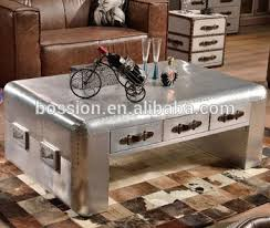 industrial coffee table with drawers industrial aviator aluminium square coffee table with drawer buy
