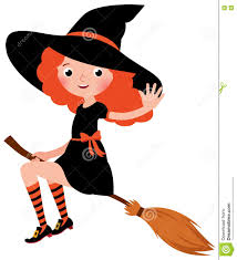 little redhead halloween witch flying on a broomstick stock vector
