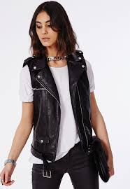 faux leather gilet black coats jackets missguided