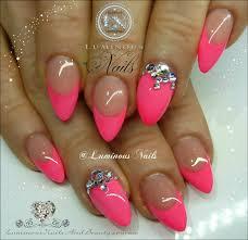 luminous nails pink nails with bling nails pinterest