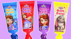 learn colors sofia bath paint bath soap disney
