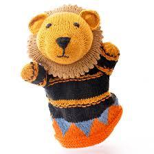 lion puppet knitted organic cotton lion puppet by chunkichilli