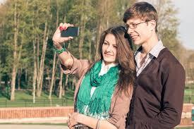 Take A Selfie Young Fashion Elegant Stylish Couple Take A Selfie In A Park
