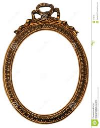 oval gold wood mirror frame with ornaments stock photo image
